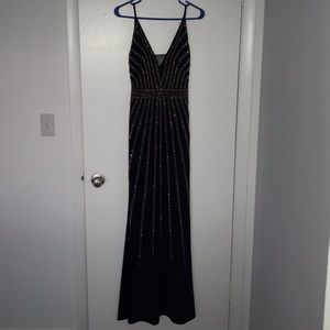 Navy long formal prom dress with copper beading